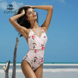 CUPSHE Floral Print One-Piece Swimsuit